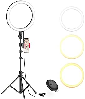 "10"" Selfie Ring Light with Tripod Stand & Phone Holder for Live Stream/Makeup, Dimmable Led Camera Beauty Ringlight for Yo..."