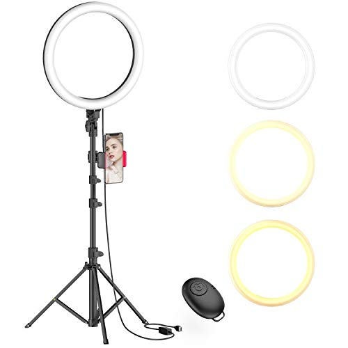 10' Selfie Ring Light with Tripod Stand & Phone Holder for Live Stream/Makeup, Dimmable Led Camera Beauty Ringlight for YouTube TikTok/Photography Compatible with Cell Phone(Upgraded)