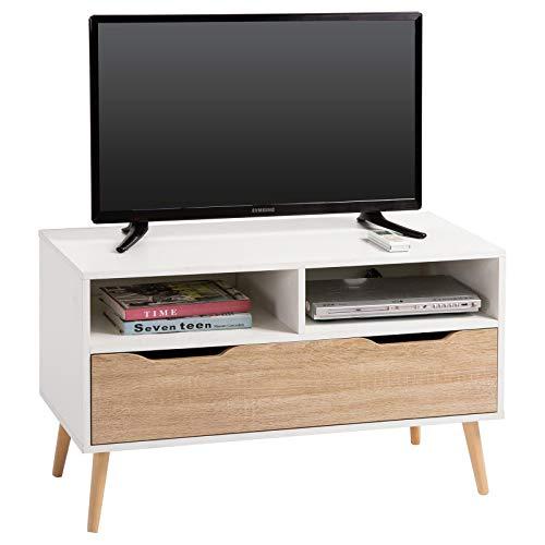 IDIMEX TV Rack Lowboard HiFi Möbel Fernsehtisch Beistelltisch Wohnzimmertisch Genova, 2 Fächer, 1 Schublade weiß/Sonoma foliert