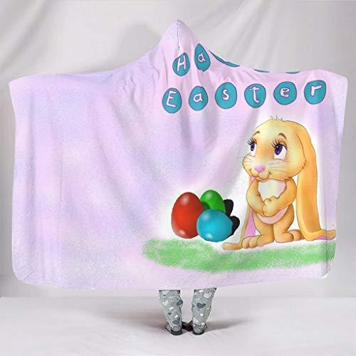 Manta con capucha multifuncional de franela con diseño de huevos de Pascua para hombres y mujeres, color blanco, 150 x 200 cm