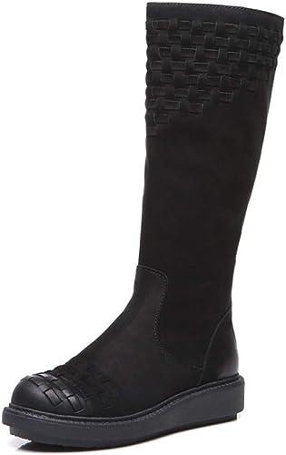 PLNXDM Bottes Hautes Chaussures De Les Les dames Chevalier Romain Bottes Bottes Martin Rétro Genou Talons Hauts