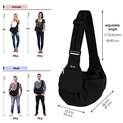SlowTon Pet Sling Carrier, Dog Papoose Hand Free Puppy Carry Bag with Bottom Supported Adjustable Padded Shoulder Strap and Front Zipper Pocket Safety Belt for Small Pet Daily Use (Waterproof Black) 6