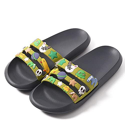 MDCGL Sandalias Suaves Zapatillas Antideslizantes para baño Interior de casa de Verano para Mujer, Sandalias para Parejas en casa, Chanclas para Hombre, Zapato Grey1 EU39-40