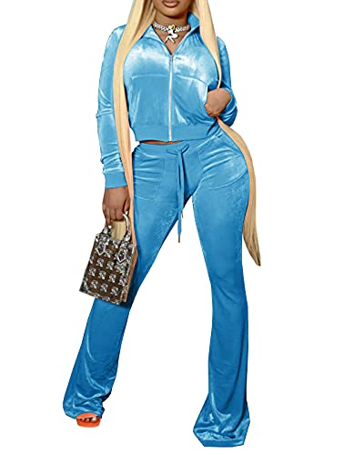 Two Piece Tracksuit for Women Velvet Long Sleeve Crop Tops Jackets and Flared Long Pant Sets Light Blue L