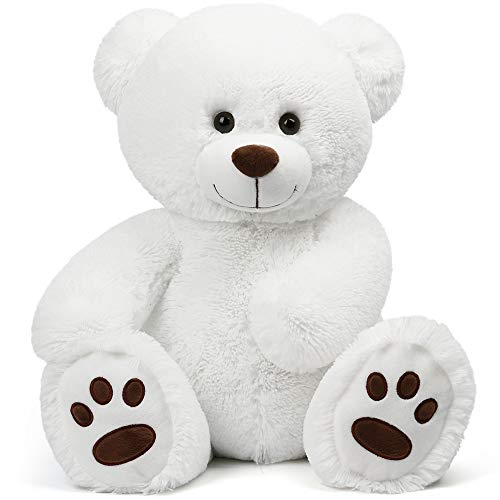 LotFancy 1.4FT Teddy Bear Stuffed Animal Plush, Cuddly Stuffed Teddy Bears, Teddy Bear Plush Toy with Big Footprints, Gifts for Girls, Girlfriend, Wife on Valentine's, Birthday, Easter