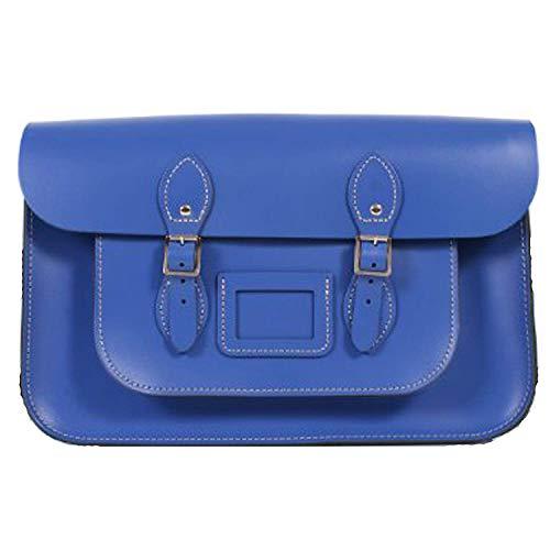 15' Deep Leather handmade Vintage Classic Retro Fashion Satchel laptop/school Messenger Bags (Blue)