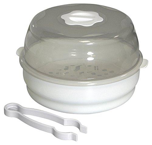 H+H BS 18 Dampf-Sterilisator (für Babyflaschen, Flaschenzange, 5 bis 8 Minuten, Bis zu 4 Flaschen, Vaporisator für Mikrowelle, Sterilisationsgerät Baby für Schnuller, Sauger und Fläschchen)