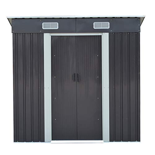 The Fellie Metal Garden Shed for Tools Kit Storage, Waterproof and Rust-Proof Outdoor Building Garden Shed Outdoor Storage Pent, 4x6ft