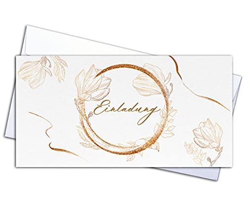 20 Einladungskarten Qualitätsdruck & 20 Umschläge – Klappkarten SET, Geburtstag, Hochzeit, Taufe, Konfirmation, Kommunion, Geburt, Feier, Party