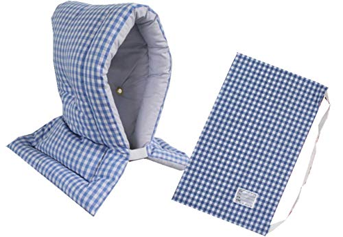 防災ずきん専用カバー付 日本製(小学生から大人まで)Lサイズ 防災クッション(約30×46cm) (ギンガムチェック(ブルー))
