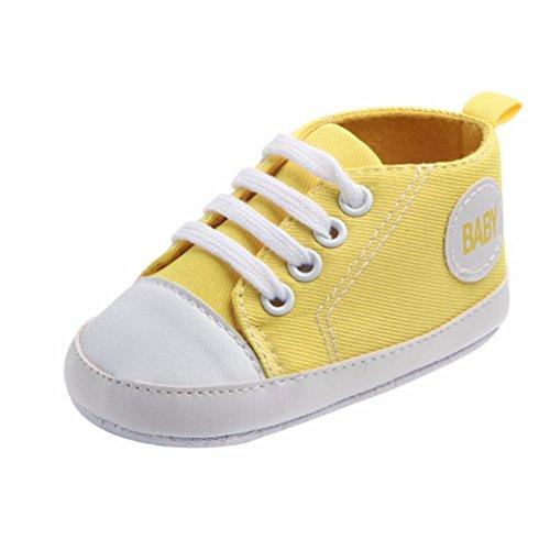 K-youth® Zapatos Bebe Primeros Pasos Zapatillas Niño Recién Nacido Zapatos Primeros Pasos Zapatilla de Deporte Antideslizante de Zapatos de Lona Zapatos de bebé (3-6 Meses, Amarillo)