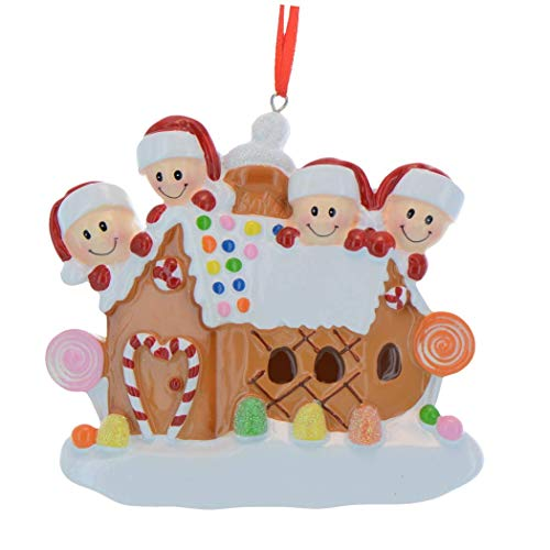 Personalized Gingerbread House Family of 4 Christmas Tree Ornament 2020 - Our Sweet Home New Candy-Cane Door Children Parent Friend 1st First Tradition Holiday - Free Customization (Four)