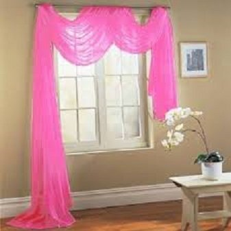 """Gorgeous HomeDIFFERENT Solid Colors and ALSOANIMAL Print 1PC Scarf Valance Soft Sheer Voile Window Topper Swag Panel Curtain 216"""" Long (HOT Pink)"""