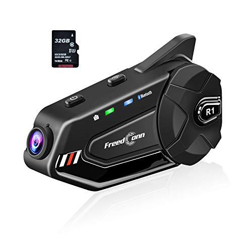 FreedConn R1 Plus Motorcycle Bluetooth Intercom with 1080P Camera Recorder, 1000M 6 Riders Motorbike Helmet Communication System Headset(1500mAh Battery,Handsfree,Stereo Music,FM Radio,Easy Install)