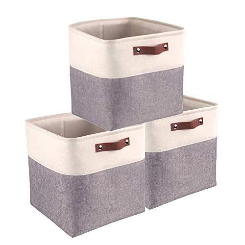 Mangata 3er-Set Aufbewahrungsbox, Faltbare Aufbewahrungsbox in Würfel Verdickte Leinwand Aufbewahrungskörbe Stoff Organizer Stoffboxen mit Griffen (Grau/Weiß, 3 Stück)