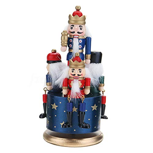 KOET Vintage Music Box, Nutcracker Clockwork Wind Up Music Box with 4 Soldiers On Base for Festive Christmas Decor Gift, DIY Wooden Music Box