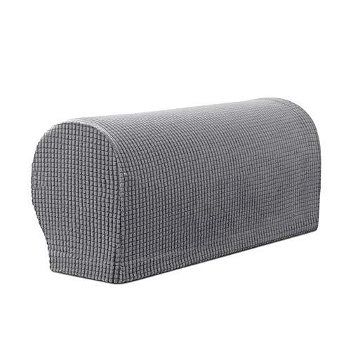 DDK 2 fundas para reposabrazos de sofá, elásticas, de jacquard, suaves, antideslizantes, para sillón, sofá, tumbona, color gris claro