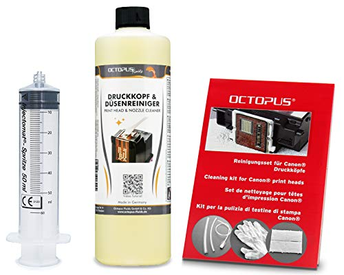 Octopus Düsenreiniger, Druckkopfreiniger kompatibel für Canon Pixma Druckköpfe mit Schlauchadaptern (500 ml)