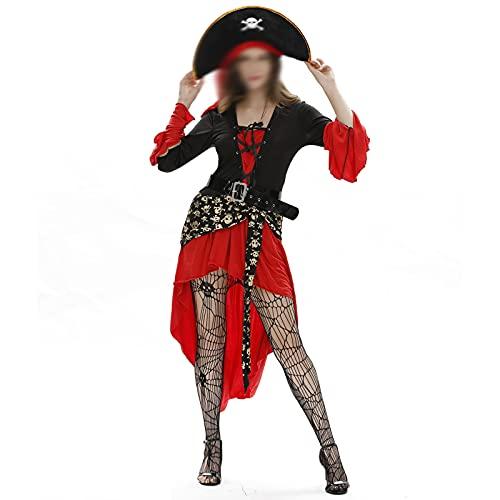 LUONE Disfraz de Vestir de Halloween, señoras Halloween Sexy Femenino Pirata Traje Uniforme Vestido para Adultos Cosplay Halloween Party Incluye Medias Red,Rojo,XXL