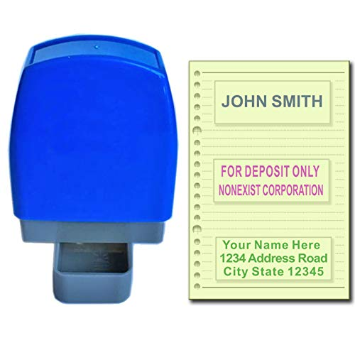 Custom Self Inking Rubber Stamp - 1 to 3 Lines - Ready for use Refillable