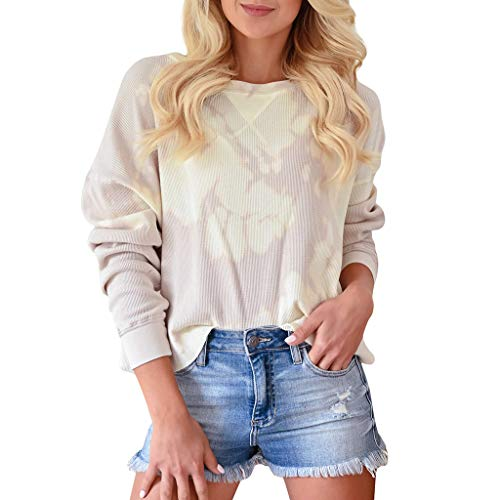 Amazing Deal Women Pullover Sweatshirt Crewneck Print Long Sleeve Blouse Lightweight Casual Loose Fa...
