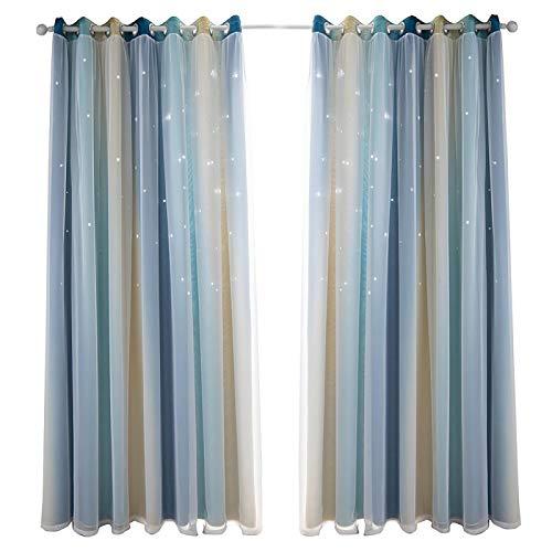 Pohove - Tende a stella con occhielli per finestra, extra lunghi, per camera da letto, soggiorno, a doppio strato, sfumato, installazione in poliestere, 134 x 270 cm, colore: Blu