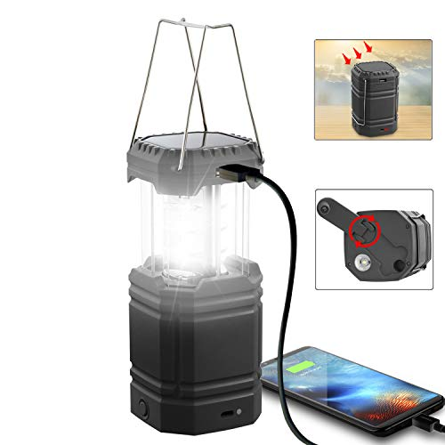 LED Solar Camping Lantern Rechargeable, Hand Crank Lantern Flashlight with 3 Powered Ways & USB Cable,3000mAh Power Bank Emergency Camp Lights, Collapsible,Waterproof for Survival Kit&Hurricane