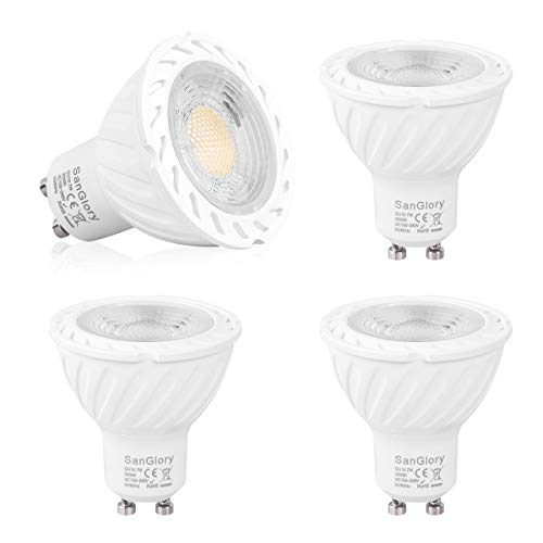 SanGlory Bombillas LED GU10, 7W Equivalente 70W Halógena, 680 Lúmenes, Ultra Brillante GU10 LED Spotlight, 45 ° luz blanca cálida 3000K, AC 85V-265V, no regulable - Caja de 4 unidades