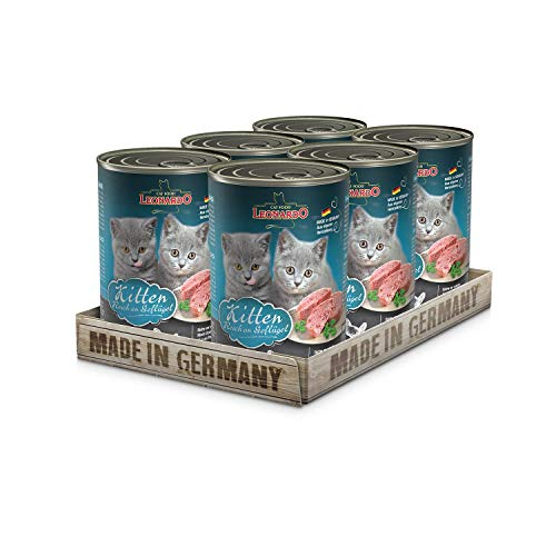 Leonardo Nassfutter [6x400g Kitten] | Getreidefreies Nassfutter für Katzen | Feuchtfutter Alleinfutter aus der Dose