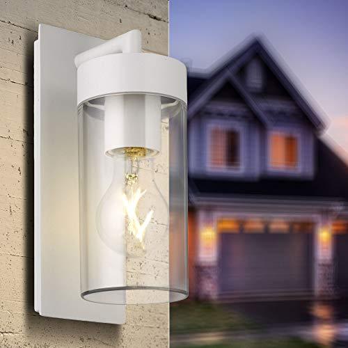 Aussenleuchte E27 weiß Aussenleuchten Wandleuchte Deckenleuchte Wandlampe Aussenwandleuchte Aluminium Aussenwandlampe STELLA 1883-WH