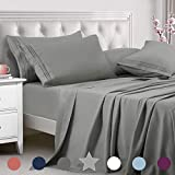 TEKAMON Queen Bed 6 Piece Sheet Set Cooling 100% Microfiber Polyester Extra Deep Pocket Fitted Sheet Luxury Soft,Breathable,Wrinkle and Fade Resistant Flat Sheet Grey