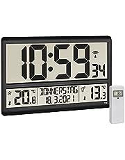 TFA Dostmann 60.4521.01 - Reloj de Pared Digital XL con Temperatura Exterior, Temperatura Interior, día de la Semana (8 Idiomas), Radio Reloj, Fecha, Color Negro