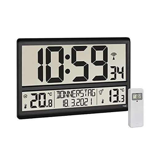 TFA Dostmann Digitale XL Wanduhr, 60.4521.01, mit Außentemperatur, Innentemperatur, Wochentag (8 Sprachen), Funkuhr, Datum, schwarz, (L) 360 x (B) 235 x (H) 28 (84) mm