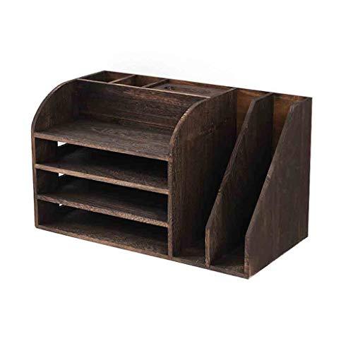 Estante para libros Escritorio de oficina bookcase Material de almacenamiento de madera del hogar del estante Organizador de escritorio Accesorios Display retro 19 × 9,64 × 11,22 pulgadas Organizador
