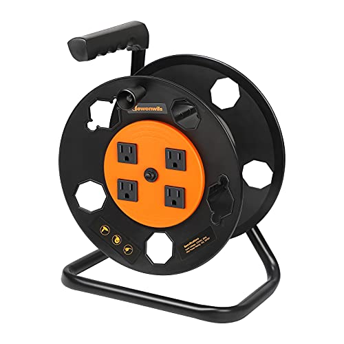 DEWENWILS Extension Cord Storage Reel, Heavy Duty Open Cord Reel with 4-Grounded Outlets, 12/3,14/3,16/3 Gauge Power Cord Reel, Hand Wind Retractable, 13A Circuit Breaker, Orange