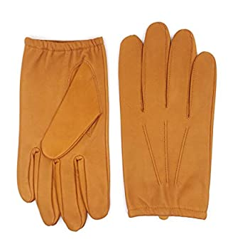 Harssidanzar Mens Thin Unlined leather police duty gloves GM031,Tan,Size M