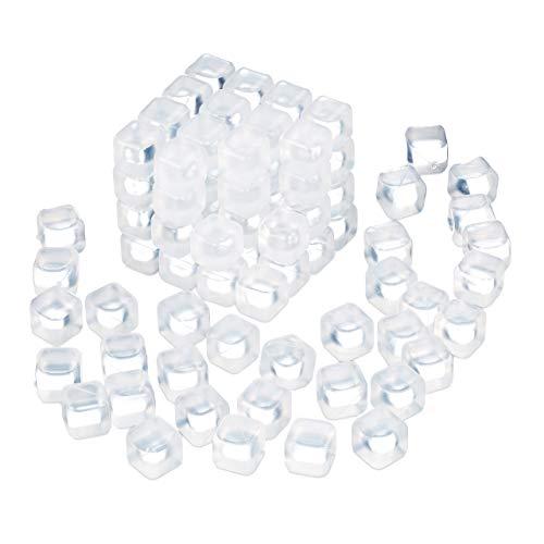 Relaxdays Eiswürfel wiederverwendbar, 100 Stück, Dauereiswürfel Kunststoff, Getränke kühlen, Partyeiswürfel, transparent