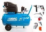 ABAC Compresor de aire Montarlo L20 – 10 bar – HP2 litros 50 Art. 1129100023 nuevo más kit 5 piezas ABAC 8973005546 – Incluye taladro 500 W con percusión de 13 mm. Velocidades variables,
