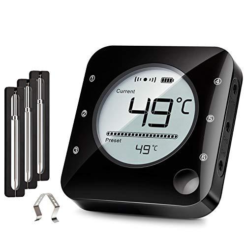 Küche Bluetooth Thermometer Digitale Grillhermometer mit 3 Temperaturfühler Fleischthermometer mit Alarm Polierte Schale für Grill BBQ Freund Geschenk Bratenthermometer 3 Sonden (Helles Schwarz)