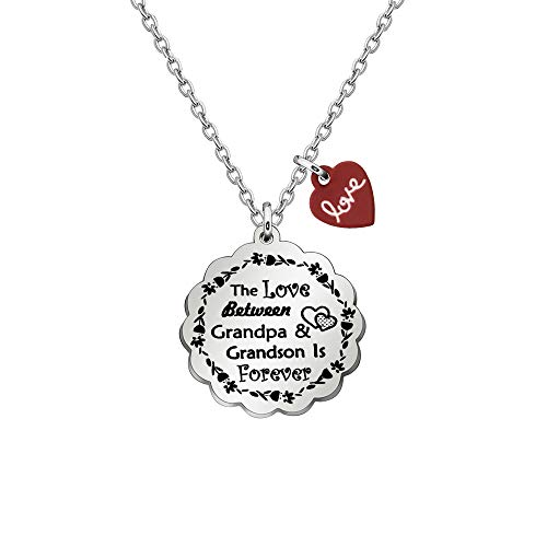 ACAROMAY Grandpa Pendant Necklace Grandfather Grandson Granddaughter Family Love Forever Neck Lace Christmas Jewelry (Grandpa Grandson)