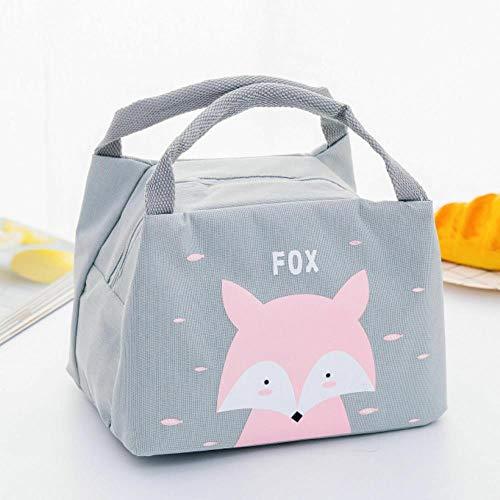 Heng draagbare geïsoleerde thermische voedsel picknick lunch tas box cartoon tassen zakje voor meisje kinderen kinderen, grijze vos, 17cm tot 21cm tot 15cm