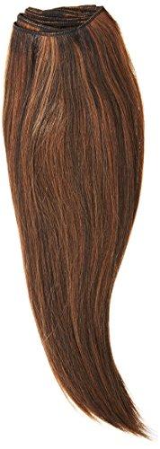 chear soyeux cheveux Yaki Raides trame Extension de cheveux humains avec de mélange tissage, Nombre P1B/30, Off moyenne Noir/auburn, 35,6 cm