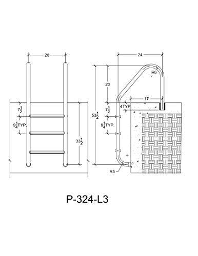 SAFTRON P-324-L3-W 3 Step High Impact Polymer Finish Inground Pool Ladder, White