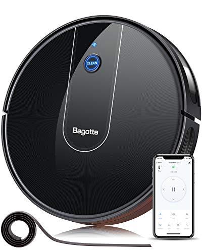 Bagotte BG700 Saugroboter App, Starke 1600Pa WLAN Staubsauger Roboter mit Alexa Sprachsteuerung, 6.9cm super dünn, Automatischer Aufladung und Navigation für Tierhaare, Teppiche, Fliesen, Hartböden