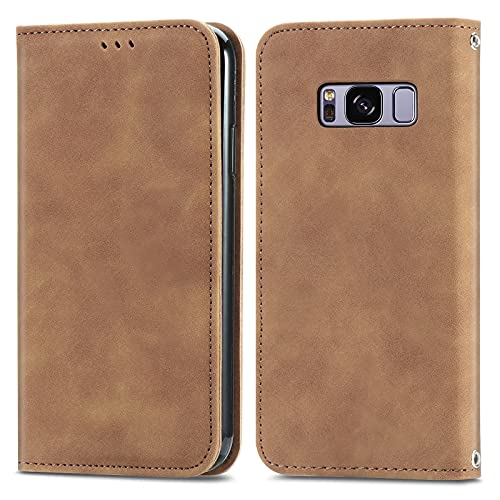 ZHANGHUI Funda protectora con tapa para Samsung Galaxy S8, cierre magnético, funda de piel con ranuras para tarjetas, color marrón