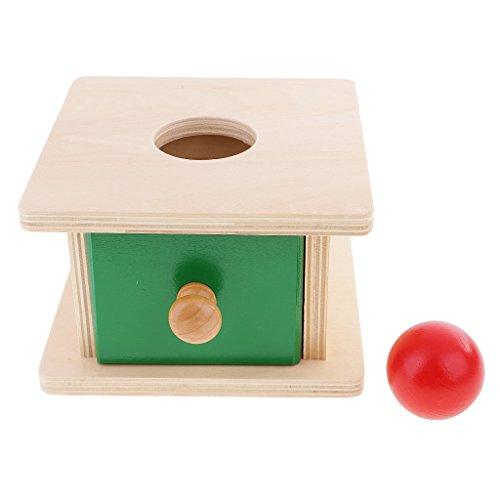 Baoblaze Montessori Material Caja de Madera Juegos Educativos para Niños Geometría Bola de Cubo Rúbrica Cilindro - Esférico