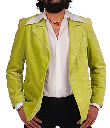COMYCOM jaren 70 retro fluwelen acco pak jas mintgroen