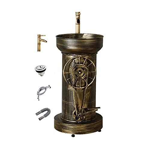 YLR Standwaschbecken Bar KTV, Retro Waschbeckenunterschrank, Handmade Column Waschtisch Mit Wasserhahn Und Ablauf Kombination Industrie Stil Dekoration 58x45x83c(Color:Vintage Bronze Column Sink Set)