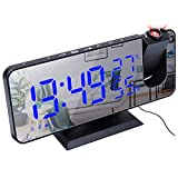 OonlyoO Projection Clock,Smart Clock,LED Digital Alarm Clock Digital Projector Radio Alarm Clock Fashion Adjustable Mirror Alarm Clock Suitable for Bedroom, Living Room