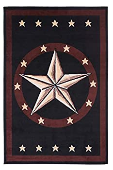 Furnish my Place 625 Star Black Texas Western Star Decor Cowboy Area Rug Stain Resistant Mat Latex Backed Rugs Black  5 x7 5